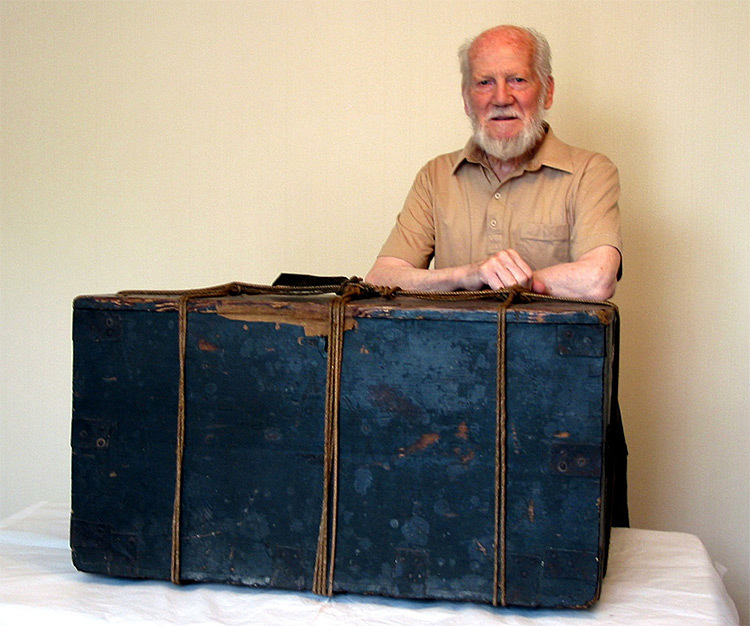 John Coghill standing next to Joanna Southcott's Box of Prophecies